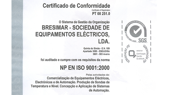 Quality certification by the Norm NP EN ISO 9001: 2000.